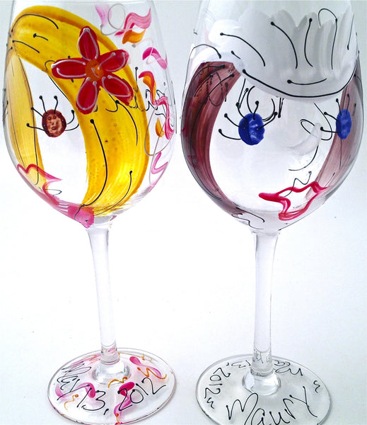 "Wedding Party ""Bridesmaid"" Hand Painted Personalized Bridesmaid Glass"