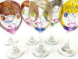 Custom Wine Sisters - Hand Painted Sisters Wine Glass with 2 Faces - Personalization Available
