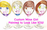 Custom Wine Girl - Hand Painted Wine Girl - Personalization Available
