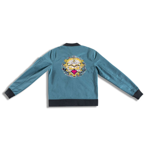 Turquoise blue bomber jacket, influenced by the Chinese Zodiac Tiger with yellow pattern inside. Also has the birth years of the tiger on the right sleeve with chinese character tiger on the left chest.