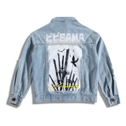 Jean Jacket with Bibisama written on top with a white background design of several Katanas and 2 crows. Also has bibisama original button design