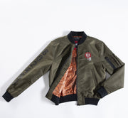 Olive nylon bomber jacket- Design inspired by the Chinese Zodiac Monkey with orange pattern on the inside
