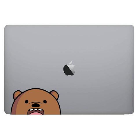 Vinyl Decal of Grizzly from Bare Bears on Laptop