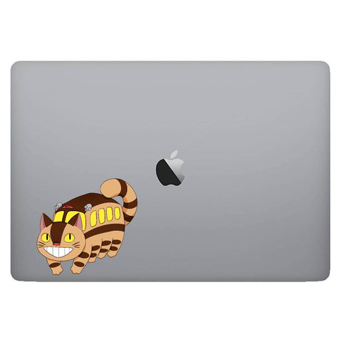 Vinyl Decal of CatBus from My Neighbor Totoro on Laptop