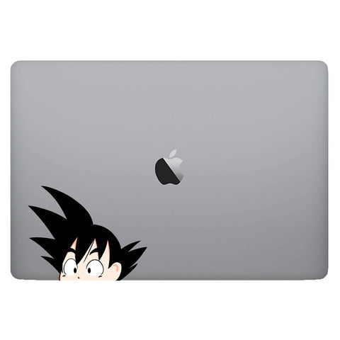 Vinyl Decal of Kid Goku from Dragon Ball on Laptop
