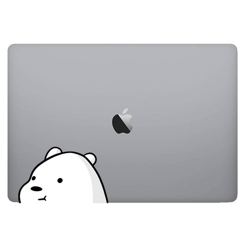 Vinyl Decal of Ice Bear from Bare Bears on Laptop