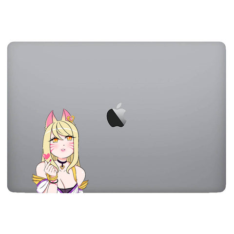 Vinyl Decal of KDA Ahri from LoL on Laptop