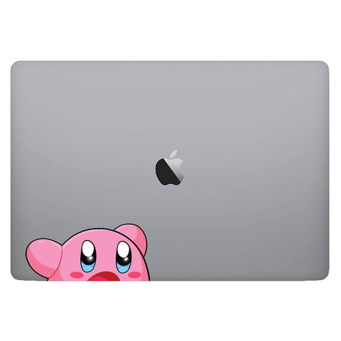 Vinyl Decal of Kirby from Nintendo on Laptop