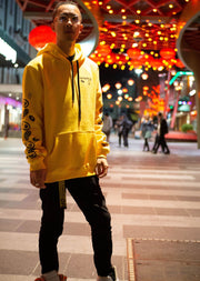 Senpais.jp Yellow Lucky Boi Hoodie - Front on View wearing off white belt