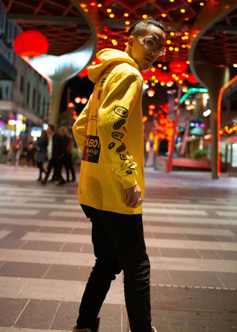 Senpais.jp Lucky Boi Hoodie - Yellow - Side on View