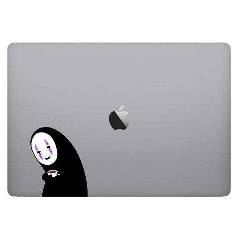 Vinyl Decal of No Face from Spirited Away on Laptop