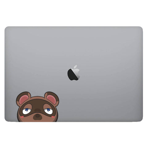 Vinyl Decal of Tom Nook from Animal Crossing on Laptop