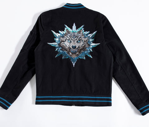 Black Cotton bomber jacket, influenced by the Chinese Zodiac Dog with zipper on the left sleeve and the dog birth year on the right sleeve.  Has the dog characteristic on the left chest with black and gray design inside the jacket. Back of the Jacket is an embroidery of the dog with inside pocket on the left side.
