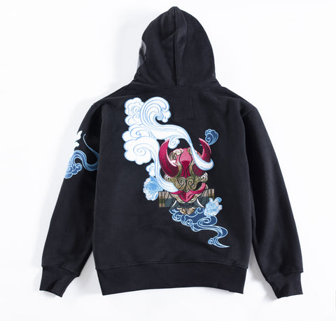 Black Oni Hoodie sweater, original design inspired by Japanese Folklore with red strings and design on the hoodie and left sleeve.