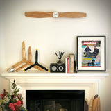35.5 Inch Wooden Airplane Propeller Wall Clock - Original Beechwood Color