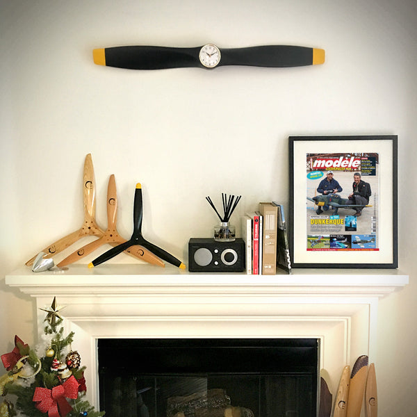 35.5 Inch Wooden Airplane Propeller Wall Clock - Matte Black with Yellow Tips