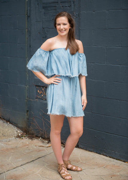 Give Me A Reason Denim Off The Shoulder Dress - Your Dream Boutique