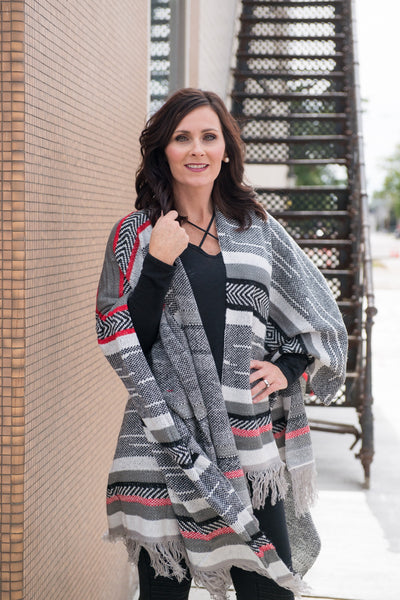 Chic Style Multi Color Poncho