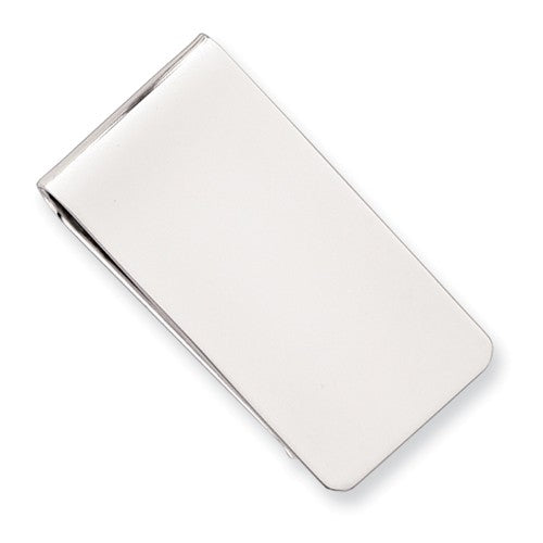 Rhodium-plated Kelly Waters Polished Rectangle Money Clip