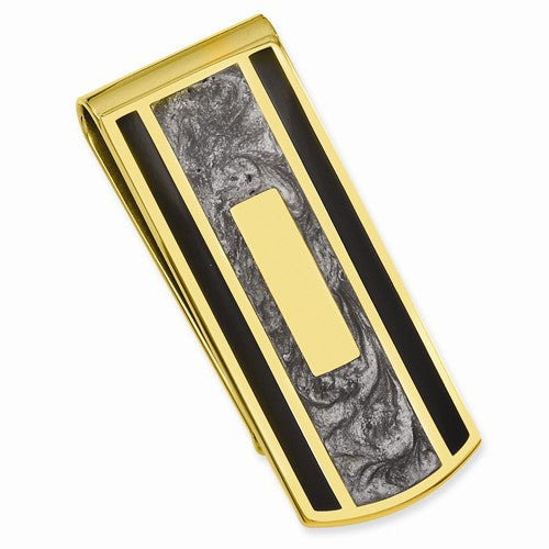 Gold-plated Kelly Waters Black & Grey Colored Money Clip