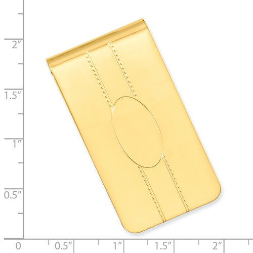 Gold-plated Kelly Waters Engraveable Oval Center Money Clip