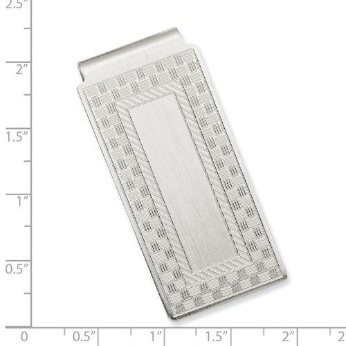 Rhodium-plated Kelly Waters Checkerboard Hinged Money Clip