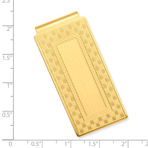 Gold-plated Kelly Waters Checkerboard Hinged Money Clip