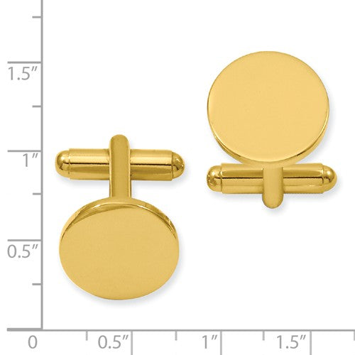 Gold-plated Kelly Waters Round Polished Cuff Links