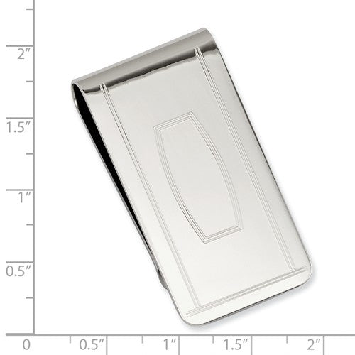 Rhodium-plated Kelly Waters with Engraveable Area Money Clip