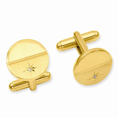 Gold-plated Kelly Waters .01 Ct. Diamond Polished & Satin Cuff Links