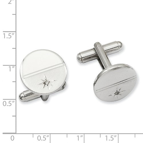 Rhodium-plated Kelly Waters .01 Ct. Diamond Polished Florentine Cuff Links
