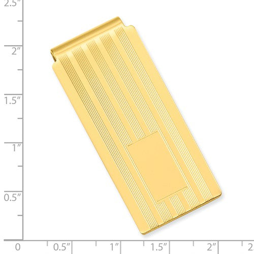 Gold-plated Kelly Waters Lined Engraveable Hinged Money Clip