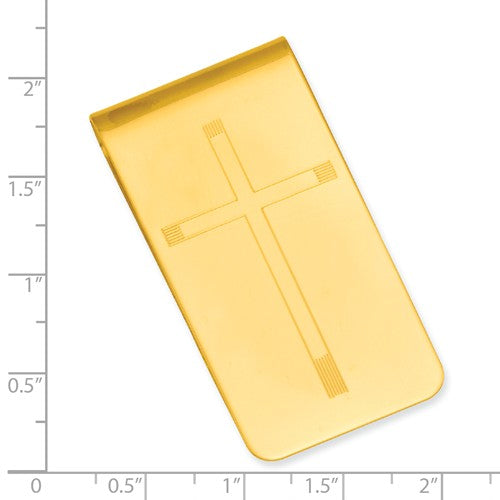 Gold-plated Kelly Waters Cross Engraveable Money Clip