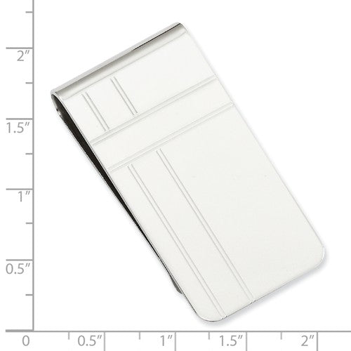 Rhodium-plated Kelly Waters Crisss Cross Pattern Engraveable Money Clip