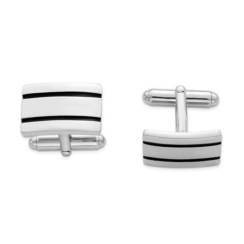 Sterling Silver Rhodium-plated Black Enameled Cuff Links