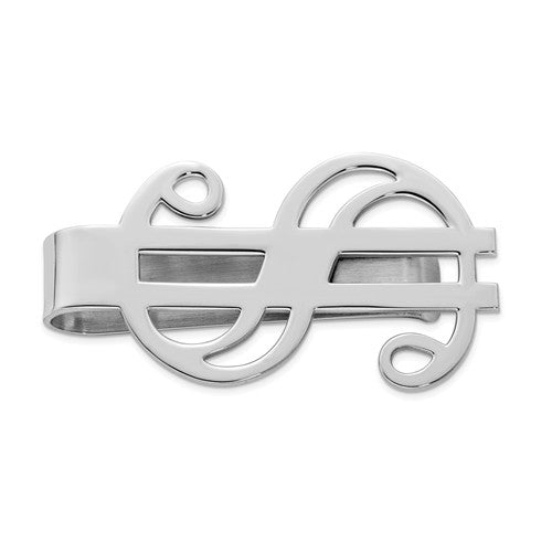 Sterling Silver Rhodium-plated Dollar Sign Money Clip
