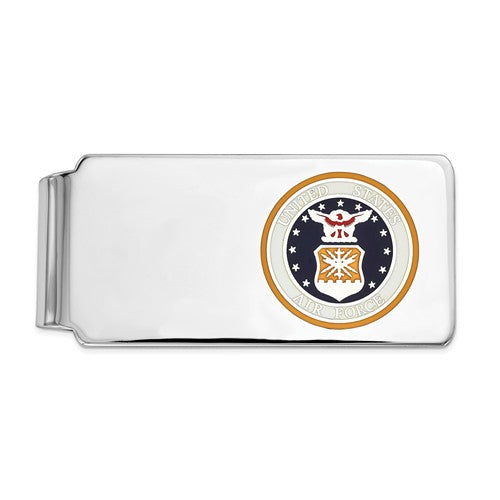 Sterling Silver Rhodium-plated U.S. Air Force Money Clip, gold background