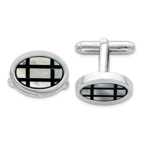 Sterling Silver Rhodium-plated with MOP and Black Enamel Cuff Links