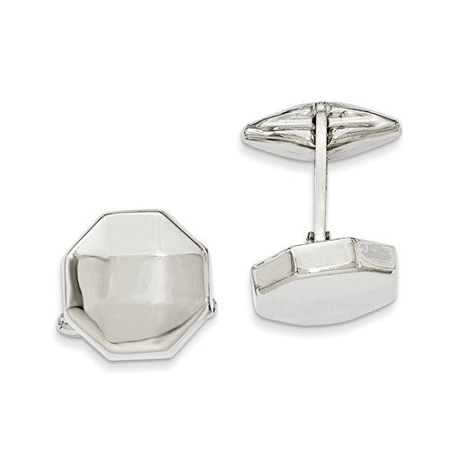 Sterling Silver Polished Hexagon Cuff Link