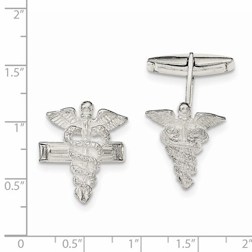 Sterling Silver caducei Cuff Links