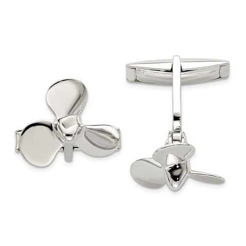 Sterling Silver Propeller Cuff Links