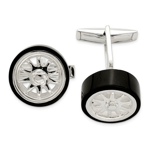 Sterling Silver Black Enamel Tire Cufflinks
