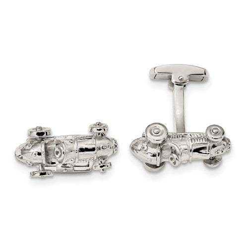 Sterling Silver Classic Race Car w/ Moveable Wheels Cuff Links