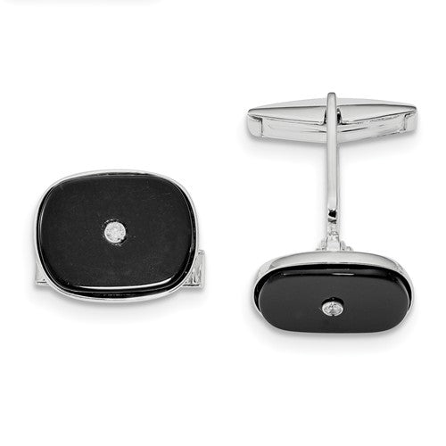 Sterling Silver Rhodium-plated Black Agate & CZ Cuff Links