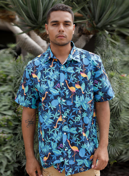 Flamingo Tropics Button Up