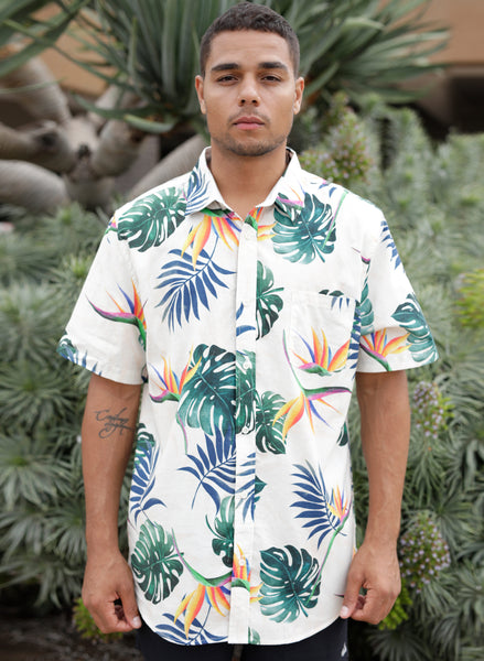Tropic Leaf Print Button Up