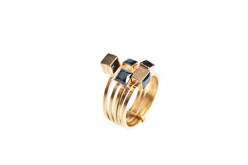 Maison Mosaic Ring 02 Gold Plated Silver