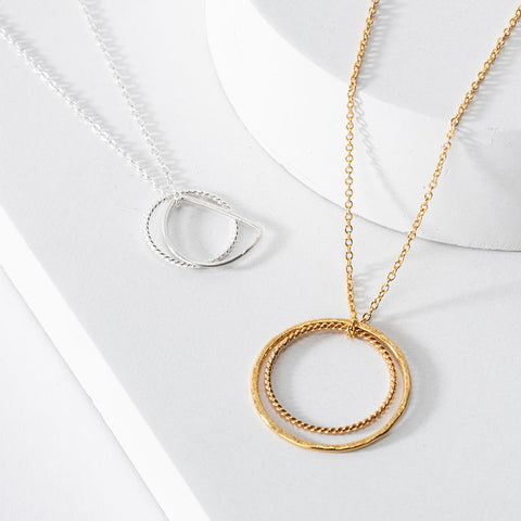 one & eight necklaces - gold, silver and porcelain