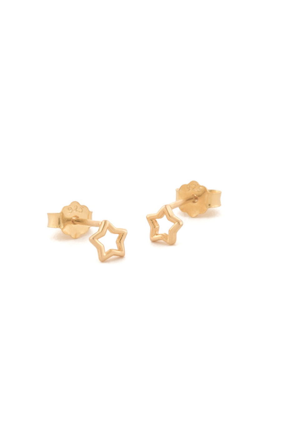 Tiny Gold Open Star Stud Earrings