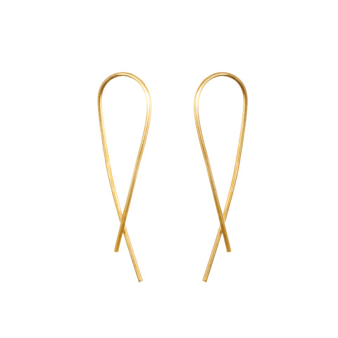 Gold Crossover Arch Earrings